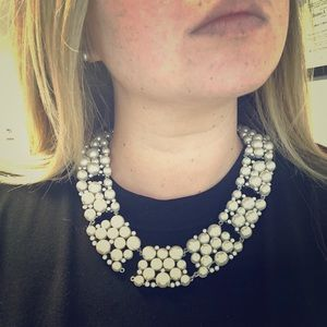 JCrew Pearl and Rhinestone Statement Necklace